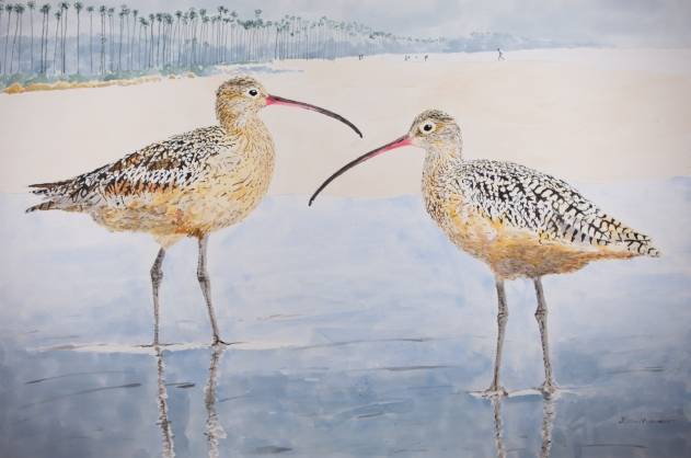 "Long-Billed Curlews #5 on East Beach, 24"" x 36"" Acrylic on panel. $1500"