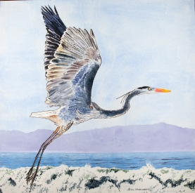 "Great Blue Heron #1, Hendry's Beach, Santa Barbara, 22"" x 22"", Acrylic, $900"