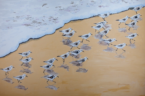 "Sanderlings #9, Jalama Beach. Acrylic on panel, 24"" x 36 "", $1,500. SOLD"