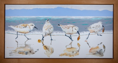 "Sanderling #14 ""The Abscuatelater"", 15""x 30"" Acrylic on Canvas. $900 SOLD"