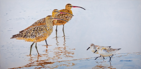 """Traffic Congestion at the Beach. 15"""" x 30"""" Acrylic on Canvas. 15"""" x 30"""" $975 at UGallery.com"""