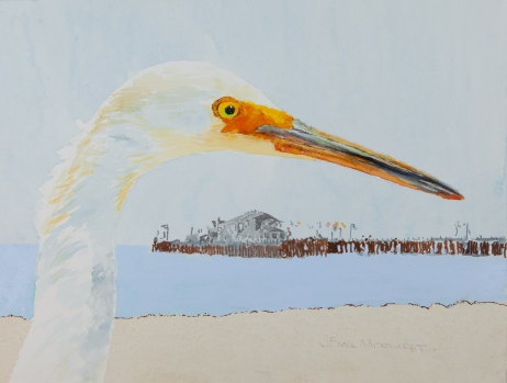"Snowy Egret #1 with Stearns Wharf, Santa Barbara 8"" x 10"" watercolor on Arches 140lb cold-pressed paper. Matted. $125"