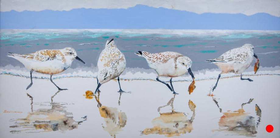 """Sanderling #14, The Absquatulator"""", 15"""" x 30"""" Watercolor and Acrylic on Canvas. $900. SOLD"""