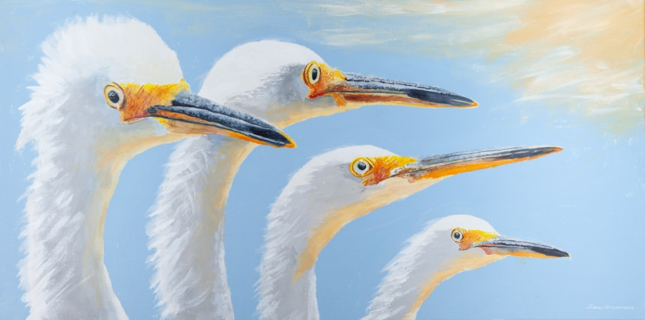 """Snowy Egrets with Climate Change, 15"""" x 30"""" Watercolor and Acrylic on Canvas. $900 SOLD"""