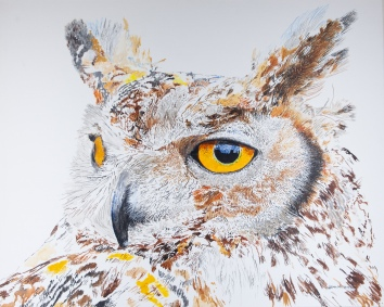 """Max, The Great Horned Owl Hearing Hooting, 24"""" x 30"""" Acrylic on canvas, $1375 at UGallery.com SOLD"""