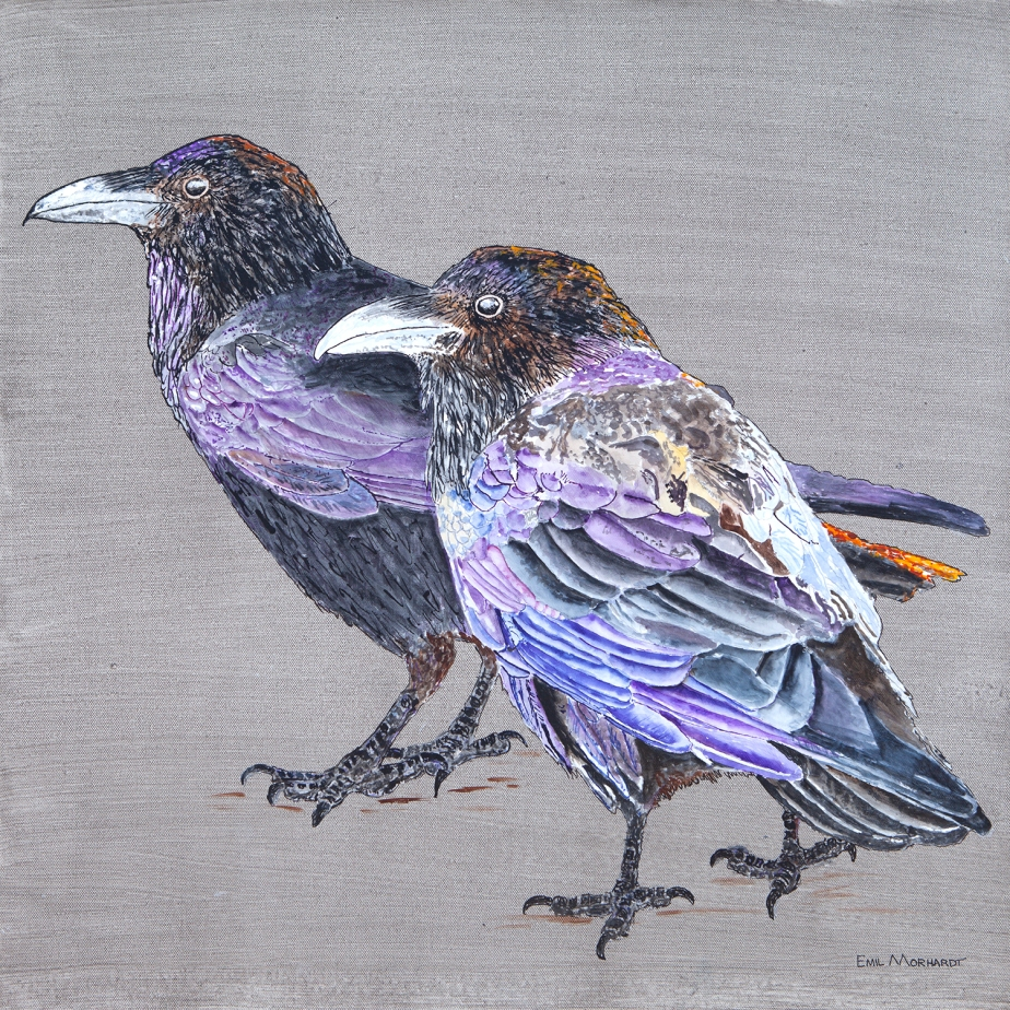 Image of a painting of two Common Ravens on a gray background.